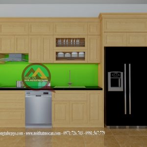 Thiết Kế Tủ Bếp Gỗ Sồi MAS-11