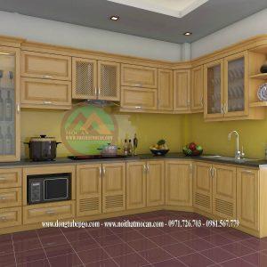 Thiết Kế Tủ Bếp Gỗ Sồi MAS-02