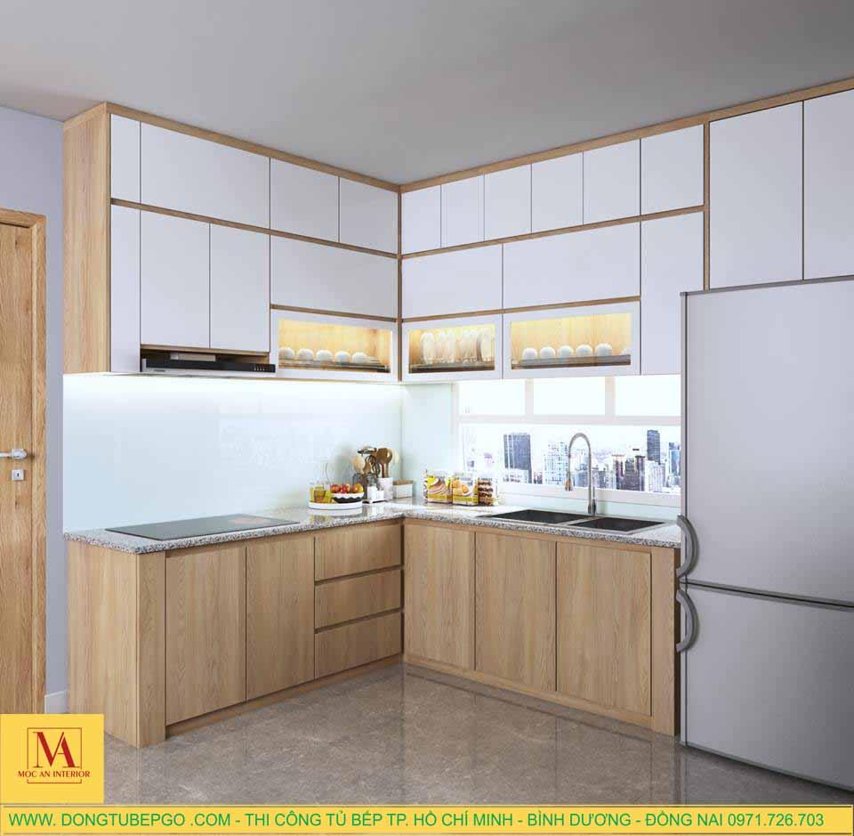Thi công nội thất tủ bếp chung cư chương dương, đóng tủ bếp giá rẻ.