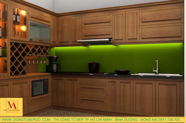 Làm tủ bếp inox cửa gỗ ở tphcm