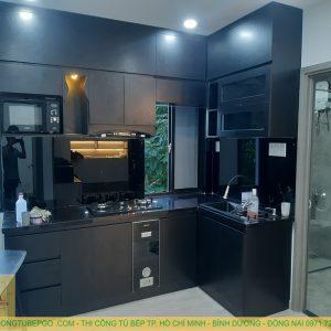 Tủ bếp gỗ công nghiệp phủ melamine MAM 184