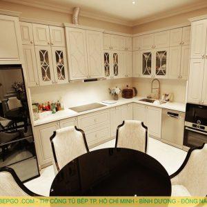 Tủ bếp gỗ tân cổ điển MAT 681